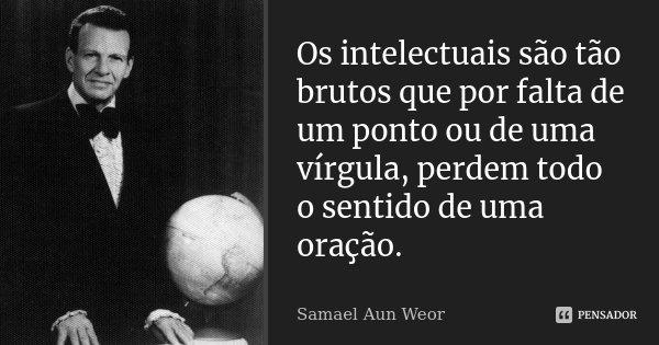 Os intelectuais são tão brutos que por falta de um ponto ou de uma vírgula, perdem todo o sentido de uma oração.... Frase de Samael Aun Weor.