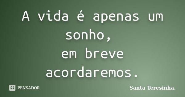 A vida é apenas um sonho, em breve acordaremos.... Frase de Santa Teresinha..