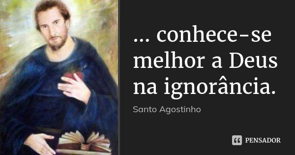 ... conhece-se melhor a Deus na ignorância.... Frase de Santo Agostinho.