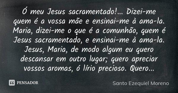 Ó meu Jesus sacramentado!... Dizei-me quem é a vossa mãe e ensinai-me à ama-la. Maria, dizei-me o que é a comunhão, quem é Jesus sacramentado, e ensinai-me à am... Frase de Santo Ezequiel Moreno.