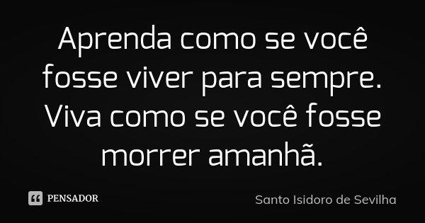 Aprenda como se você fosse viver para sempre. Viva como se você fosse morrer amanhã.... Frase de Santo Isidoro de Sevilha.