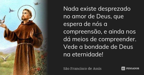 Nada existe desprezado no amor de Deus, que espera de nós a compreensão, e ainda nos dá meios de compreender. Vede a bondade de Deus na eternidade!... Frase de São Francisco de Assis.
