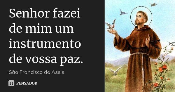 Senhor fazei de mim um instrumento de vossa paz.... Frase de São Francisco de Assis.