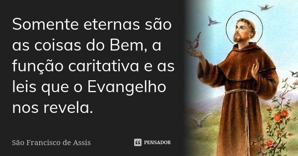 Somente eternas são as coisas do Bem, a função caritativa e as leis que o Evangelho nos revela.... Frase de São Francisco de Assis.