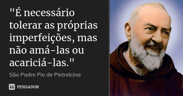 """""""É necessário tolerar as próprias imperfeições, mas não amá-las ou acariciá-las.""""... Frase de São Padre Pio de Pietrelcina."""