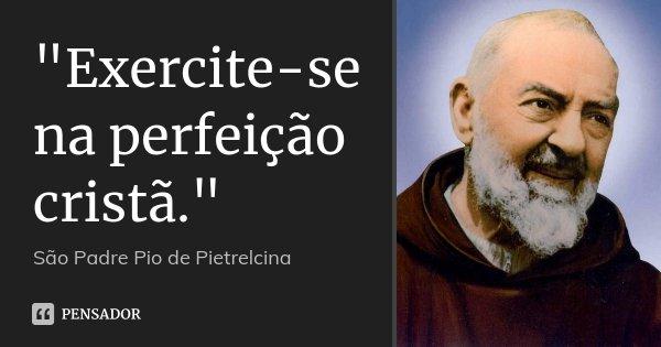 """""""Exercite-se na perfeição cristã.""""... Frase de São Padre Pio de Pietrelcina."""