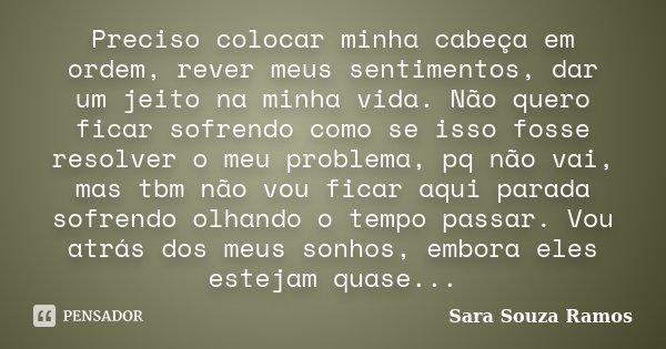 Preciso Colocar Minha Cabeça Em Ordem Sara Souza Ramos