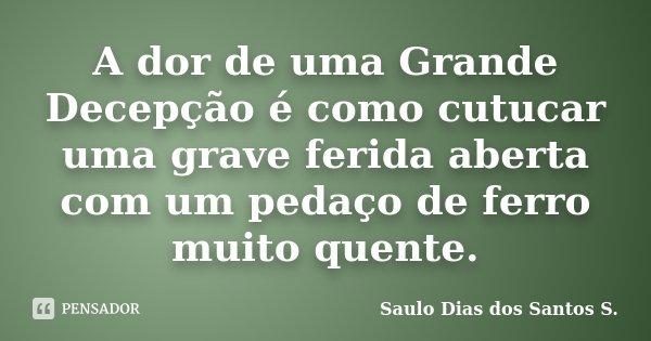 A dor de uma Grande Decepção é como cutucar uma grave ferida aberta com um pedaço de ferro muito quente.... Frase de Saulo Dias dos Santos S.
