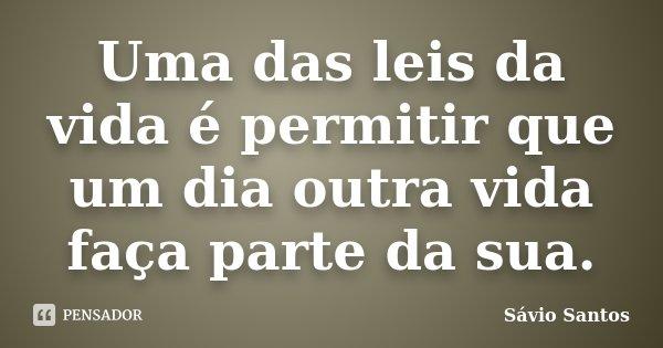 Uma das leis da vida é permitir que um dia outra vida faça parte da sua.... Frase de Sávio Santos.