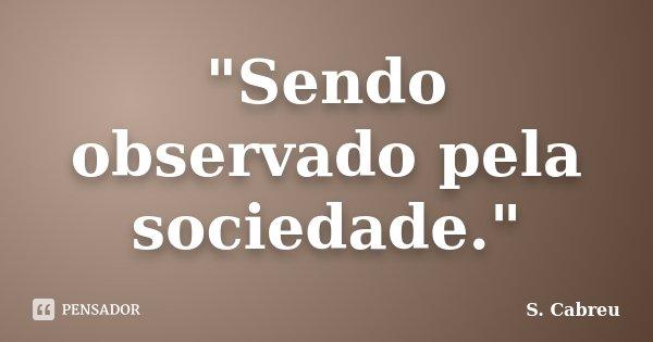 """Sendo observado pela sociedade.""... Frase de S.Cabreu."