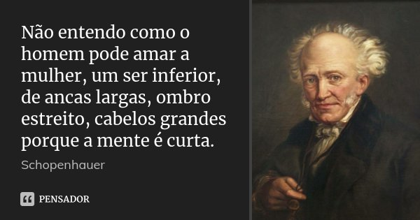 Não entendo como o homem pode amar a mulher, um ser inferior, de ancas largas, ombro estreito, cabelos grandes porque a mente é curta.... Frase de Schopenhauer.