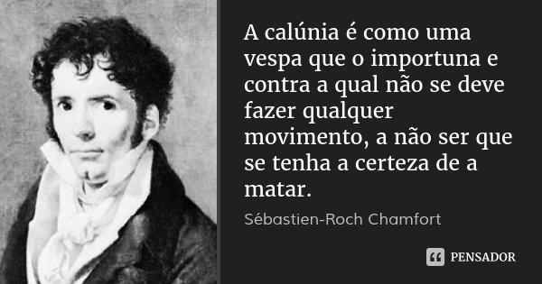 A calúnia é como uma vespa que o importuna e contra a qual não se deve fazer qualquer movimento, a não ser que se tenha a certeza de a matar.... Frase de Sébastien-Roch Chamfort.