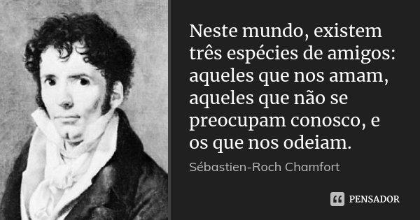Neste mundo, existem três espécies de amigos: aqueles que nos amam, aqueles que não se preocupam conosco, e os que nos odeiam.... Frase de Sébastien-Roch Chamfort.