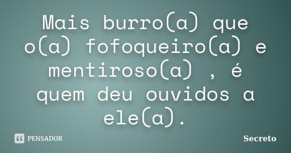 Mais burro(a) que o(a) fofoqueiro(a) e mentiroso(a) , é quem deu ouvidos a ele(a).... Frase de Secreto.