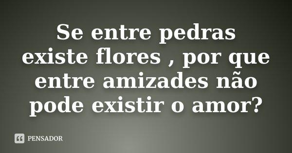 Se entre pedras existe flores , por que entre amizades não pode existir o amor?... Frase de Desconhecido.