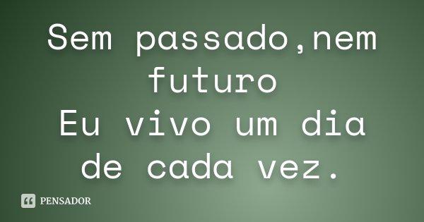 Sem passado,nem futuro Eu vivo um dia de cada vez.... Frase de Desconhecido.
