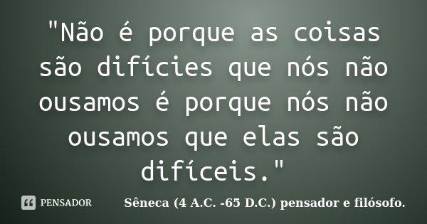 """""""Não é porque as coisas são difícies que nós não ousamos é porque nós não ousamos que elas são difíceis.""""... Frase de Sêneca (4 A.C. -65 D.C.) pensador e filósofo.."""