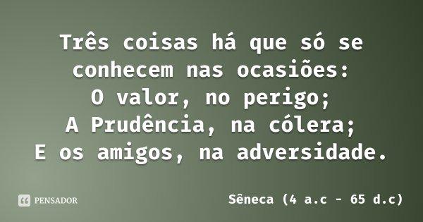 Três coisas há que só se conhecem nas ocasiões: O valor, no perigo; A Prudência, na cólera; E os amigos, na adversidade.... Frase de Sêneca (4 a.c - 65 d.c).