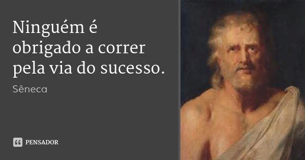 Ninguém é obrigado a correr pela via do sucesso.... Frase de Sêneca.