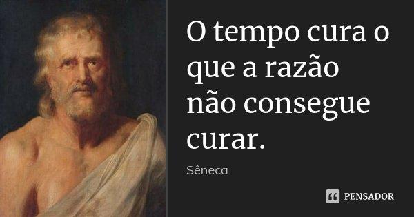 O tempo cura o que a razão não consegue curar.... Frase de Sêneca.