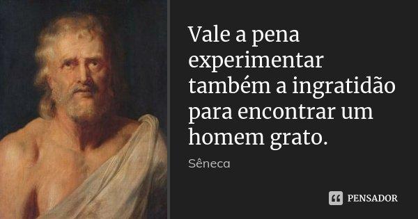 Vale a pena experimentar também a ingratidão para encontrar um homem grato.... Frase de Sêneca.