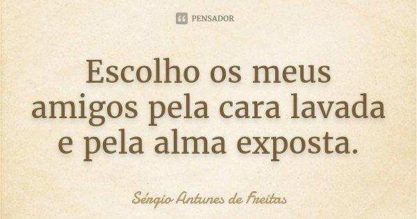 Escolho os meus amigos pela cara lavada e pela alma exposta.... Frase de Sérgio Antunes de Freitas.