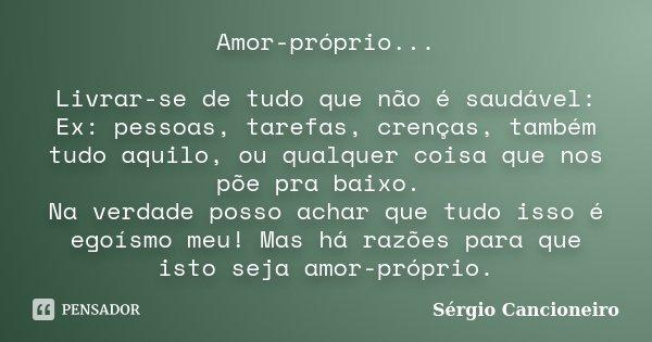 Amor Proprio Tambem Se Cultiva: Amor-próprio... Livrar-se De Tudo Que... Sérgio Cancioneiro