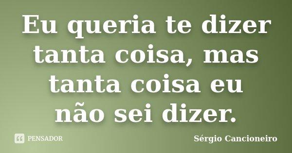 Eu queria te dizer tanta coisa, mas tanta coisa eu não sei dizer.... Frase de Sérgio Cancioneiro.