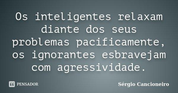 Os inteligentes relaxam diante dos seus problemas pacificamente, os ignorantes esbravejam com agressividade.... Frase de Sérgio Cancioneiro.