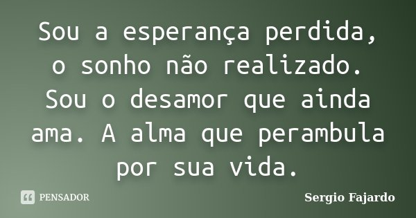 Sou a esperança perdida, o sonho não realizado. Sou o desamor que ainda ama. A alma que perambula por sua vida.... Frase de Sergio Fajardo.