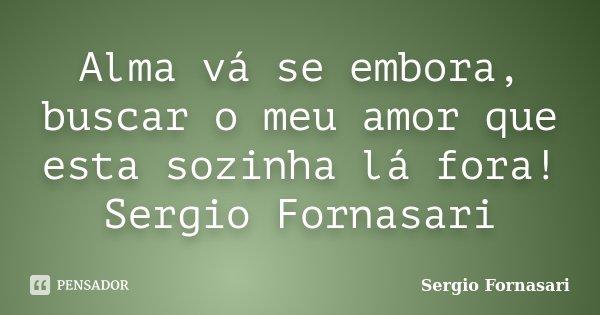 Alma vá se embora, buscar o meu amor que esta sozinha lá fora! Sergio Fornasari... Frase de Sergio Fornasari.