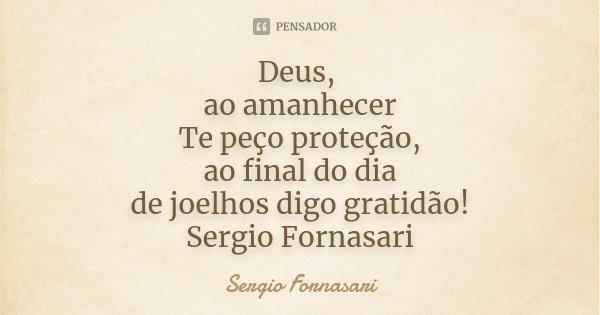 Deus, ao amanhecer Te peço proteção, ao final do dia de joelhos digo gratidão! Sergio Fornasari... Frase de Sergio Fornasari.