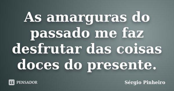 As amarguras do passado me faz desfrutar das coisas doces do presente.... Frase de Sérgio Pinheiro.