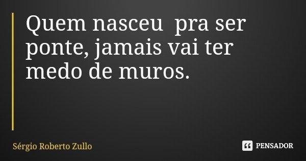 Quem nasceu pra ser ponte, jamais vai ter medo de muros.... Frase de Sérgio Roberto Zullo.