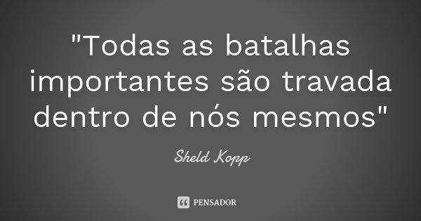 """""""Todas as batalhas importantes são travada dentro de nós mesmos""""... Frase de Sheld Kopp."""