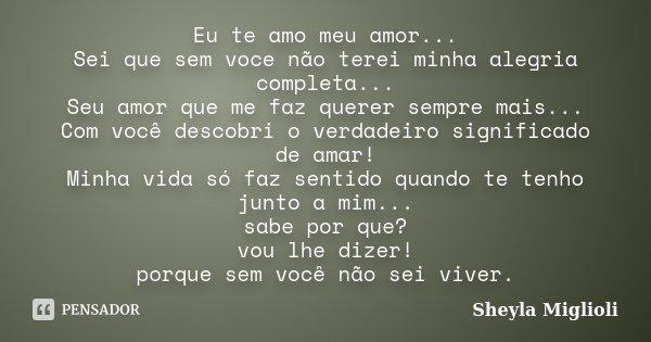 Eu Te Amo Meu Amor Sei Que Sem Voce Sheyla Miglioli