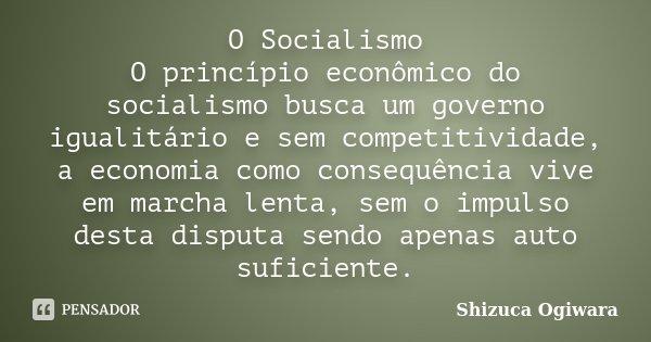 O Socialismo O princípio econômico do socialismo busca um governo igualitário e sem competitividade, a economia como consequência vive em marcha lenta, sem o im... Frase de Shizuca Ogiwara.