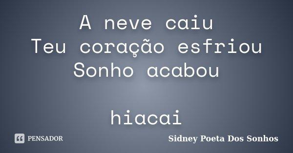 A neve caiu Teu coração esfriou Sonho acabou hiacai... Frase de Sidney Poeta Dos Sonhos.