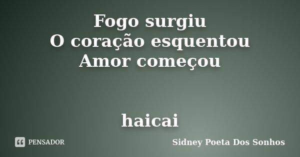 Fogo surgiu O coração esquentou Amor começou haicai... Frase de Sidney Poeta Dos Sonhos.