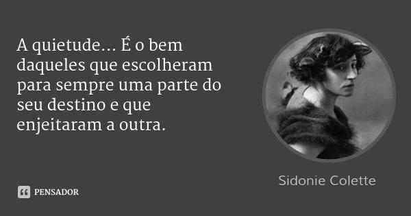 A quietude... É o bem daqueles que escolheram para sempre uma parte do seu destino e que enjeitaram a outra.... Frase de Sidonie Colette.