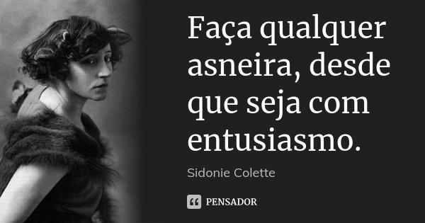 Faça qualquer asneira, desde que seja com entusiasmo.... Frase de Sidonie Colette.