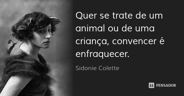 Quer se trate de um animal ou de uma criança, convencer é enfraquecer.... Frase de Sidonie Colette.