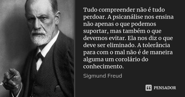 Tudo compreender não é tudo perdoar. A psicanálise nos ensina não apenas o que podemos suportar, mas também o que devemos evitar. Ela nos diz o que deve ser eli... Frase de Sigmund Freud.