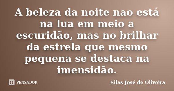 A beleza da noite nao está na lua em meio a escuridão, mas no brilhar da estrela que mesmo pequena se destaca na imensidão.... Frase de Silas José de Oliveira.