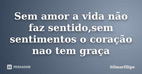Sem amor a vida não faz sentido,sem sentimentos o coração nao tem graça... Frase de Silmarfilipe.