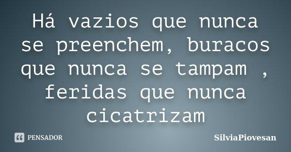 Há vazios que nunca se preenchem, buracos que nunca se tampam , feridas que nunca cicatrizam... Frase de SilviaPiovesan.