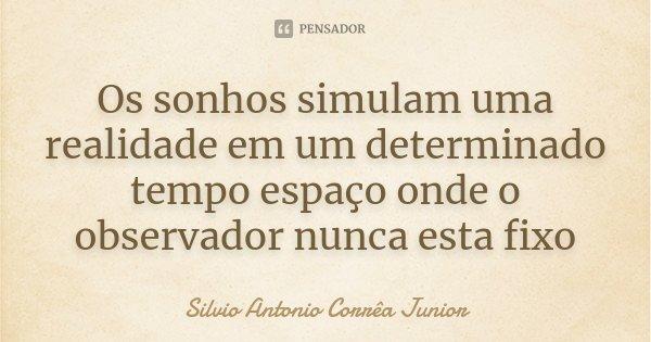 Os sonhos simulam uma realidade em um determinado tempo espaço onde o observador nunca esta fixo... Frase de Silvio Antonio Corrêa Junior.