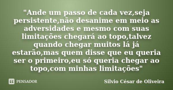 Ande Um Passo De Cada Vezseja Silvio César De Oliveira