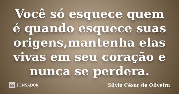 Você só esquece quem é quando esquece suas origens,mantenha elas vivas em seu coração e nunca se perdera.... Frase de Silvio César de Oliveira.