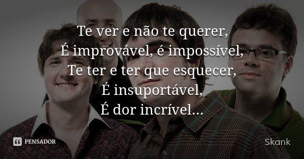Te ver e não te querer, É improvável, é impossível, Te ter e ter que esquecer, É insuportável, É dor incrível...... Frase de Skank.